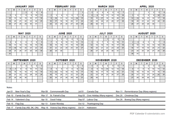 2020 Yearly Calendar With Canada Holidays