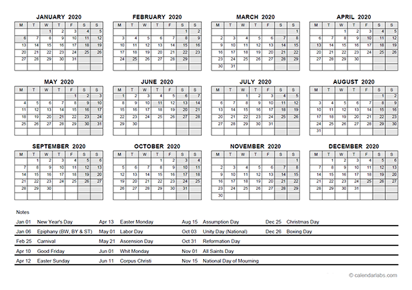 2020 yearly calendar with germany holidays