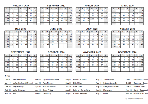 2020 yearly calendar with india holidays