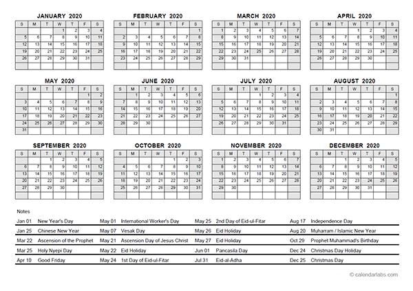 2020 Yearly Calendar With Indonesia Holidays