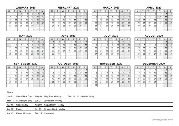 2020 Yearly Calendar With Ireland Holidays