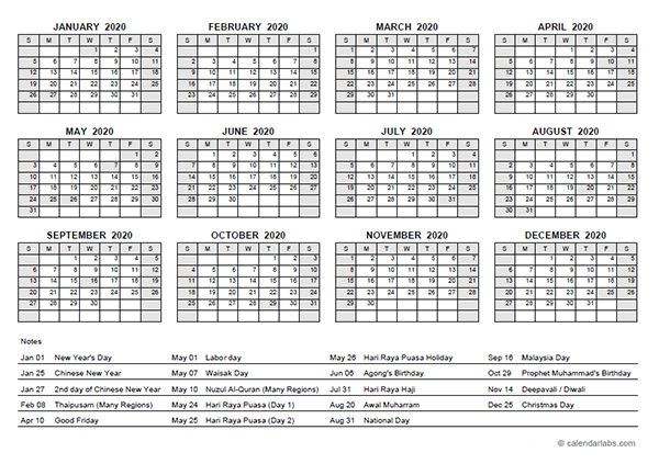 2020 Yearly Calendar With Malaysia Holidays