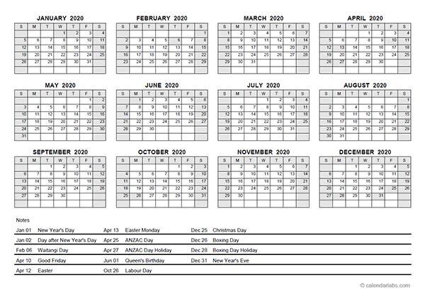 2020 Yearly Calendar With New Zealand Holidays