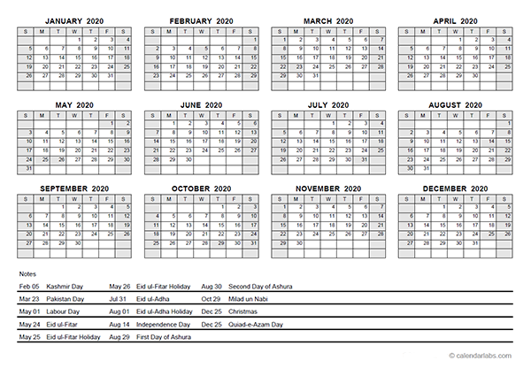 2020 Yearly Calendar With Pakistan Holidays