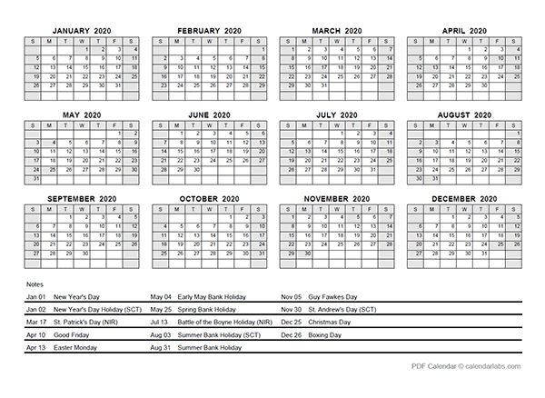 2020 Yearly Calendar With Singapore Holidays