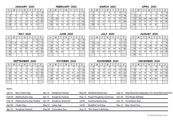 2020 Yearly Calendar With Thailand Holidays