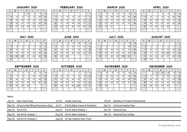 2020 Yearly Calendar With UAE Holidays