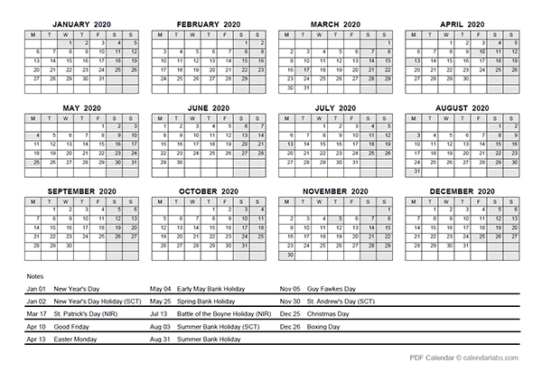 2020 Yearly Calendar With UK Holidays