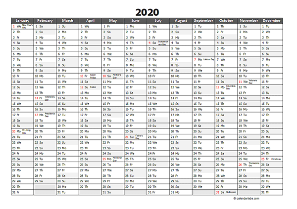 Editable 2020 Yearly Excel Scheduling Calendar