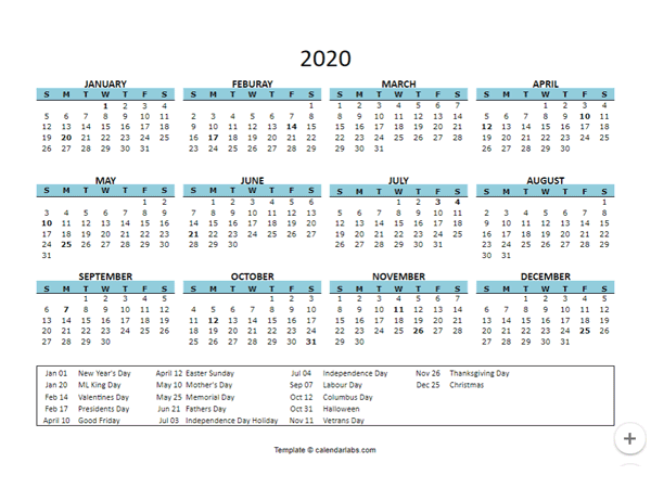 2020 Yearly Google Docs Calendar with Holidays