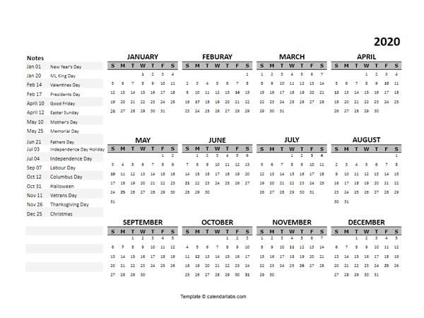 2020 Yearly Google Docs Calendar Template