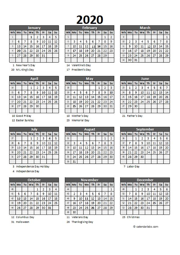 Editable 2020 Yearly Spreadsheet Calendar
