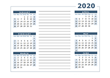 2020 two page calendar template