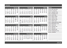 12-Month One Page Calendar Template for 2020