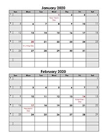 2020 2 months calendar template