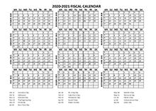Fiscal Calendar 2020-21 templates