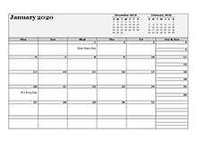 2020 Monthly Planner Template Landscape