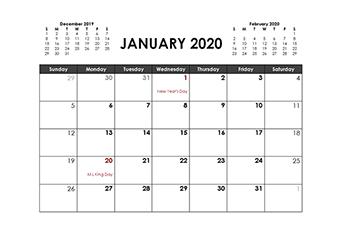 2020 3 months calendar printable