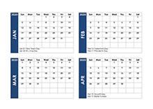 2020 Four Month Calendar Template