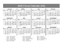 2020 USA Fiscal Quarter Calendar