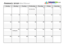 2020 Family Planner monthly