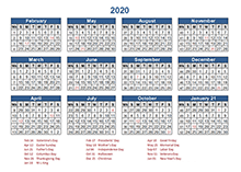 4-4-5 Retail Accounting calendar 2020