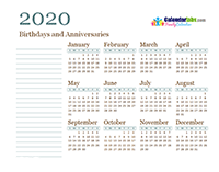 2020 Yearly Family Calendar