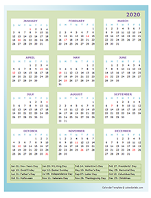 2020 Annual Calendar Design Template