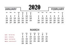 2020 Quarterly Calendar for Australia