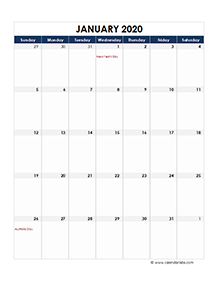 Australia calendar 2020 Public holidays