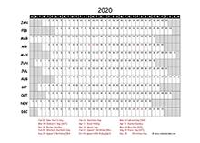 2020 project timeline calendar template for Australia