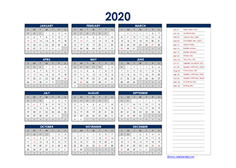 Yearly 2020 Calendar with Australia public holidays