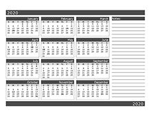 2020 12 months calendar template