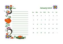 2020 blank calendar design