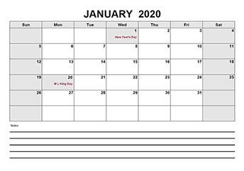 2020 Blank Calendar PDF