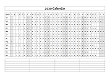 2020 calendar year at a glance template