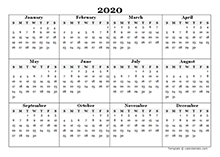 2020 Blank Yearly Calendar Template