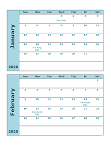 2020 calendar two months per page