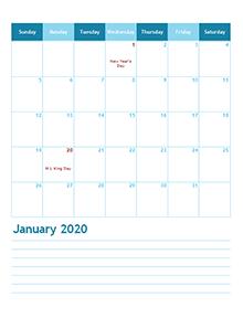 2020 month calendar template