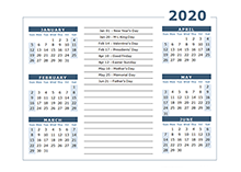 2020 calendar Template 6 months on one page