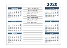 2020 Calendar Template 6 Months Per Page