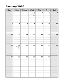 2020 Calendar Template Large Boxes Free Printable Templates