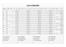 2020 Calendar Template Year at a Glance