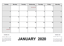 2020 Calendar with Australia Holidays PDF