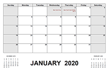 2020 Calendar with South Africa Holidays PDF
