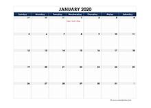 2020 spreadsheet calendar