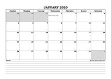 2020 Canada calendar with notes