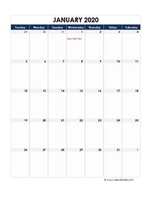 2020 excel calendar month
