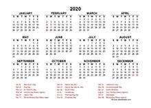 2020 canada excel calendar