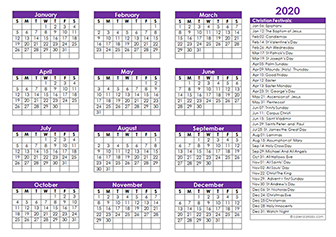 2020 Christian calendar